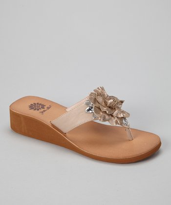 Blush Hibiscus Wedge Sandal - Women