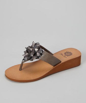 Gray Hibiscus Wedge Sandal - Women