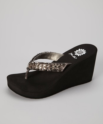 Pewter Honeydew Wedge Sandal