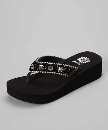 Black Messina Wedge Sandal