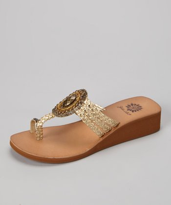 Gold Orlanda Wedge Sandal