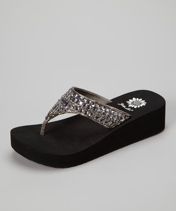 Pewter Peachy Wedge Sandal