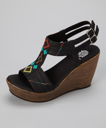 Black Pegasus Wedge Sandal - Women