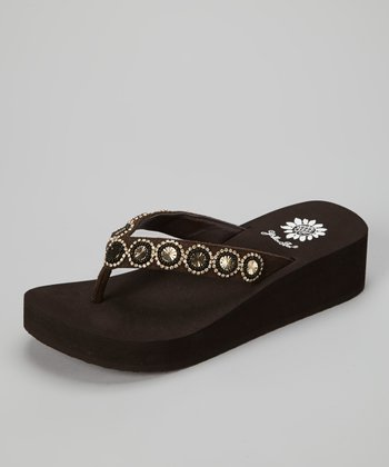 Brown Spaniel Wedge Sandal