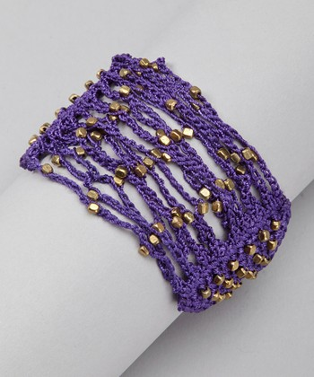 Purple & Gold Crocheted Bracelet
