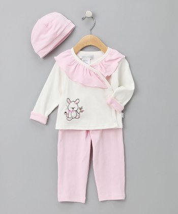Pink & White Ruffle Bunny Top Set
