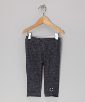Denim Blue Heart Capri Pants - Girls