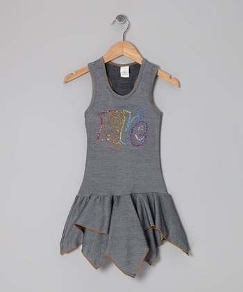 Blue Denim 'Love' Handkerchief Dress - Toddler