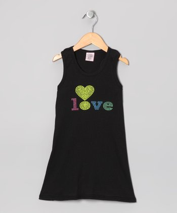 Black 'Love' Dress - Toddler & Girls