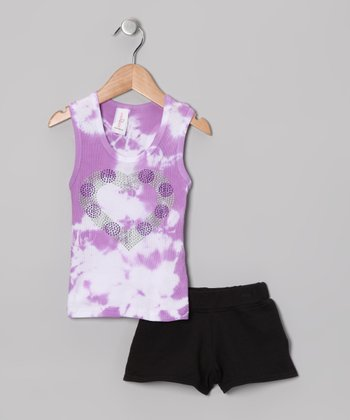 Lavender Tie-Dye Tank & Shorts - Toddler & Girls