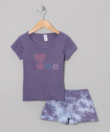 Navy & White Tee & Tie-Dye Shorts - Girls