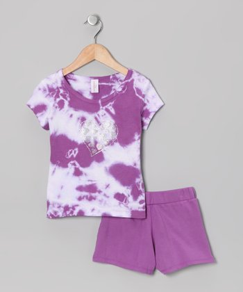 Purple & White Tie-Dye Tee & Shorts - Girls