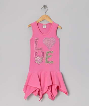 Pink 'Love' Handkerchief Dress - Toddler