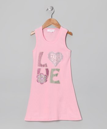 Pink 'Love' Dress - Toddler & Girls