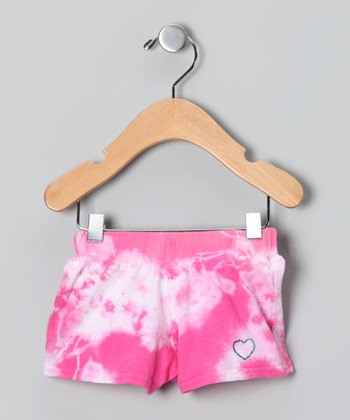 Pink & White Tie-Dye Heart Shorts - Infant, Toddler & Girls
