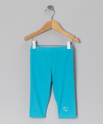 Turquoise Heart Leggings - Toddler & Girls