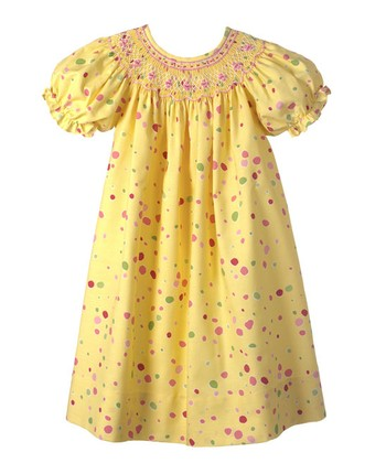 Yellow Polka Dot Bishop Dress - Infant, Toddler & Girls