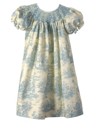 Candyland - Cream & Blue Toile Bishop Dress 12mo