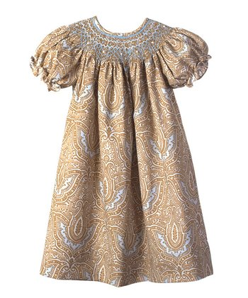 Candyland - Brown & Blue Paisley Bishop Dress 12mo