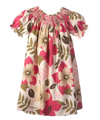 Cream & Hot Pink Floral Bishop Dress - Infant, Toddler & Girls