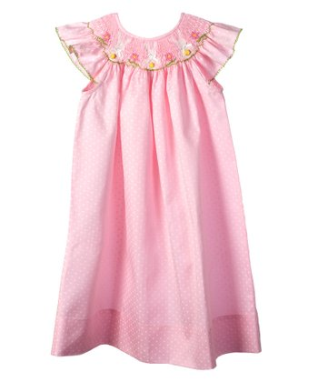 Pink Bunny Angel-Sleeve Bishop Dress - Infant, Toddler & Girls