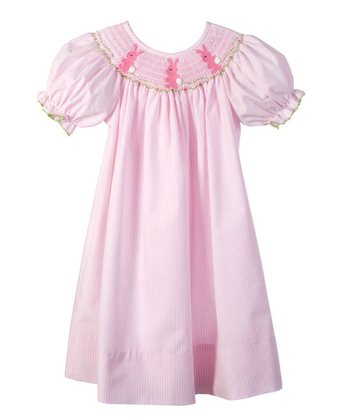Pink Stripe Bunny Bishop Dress - Infant, Toddler & Girls