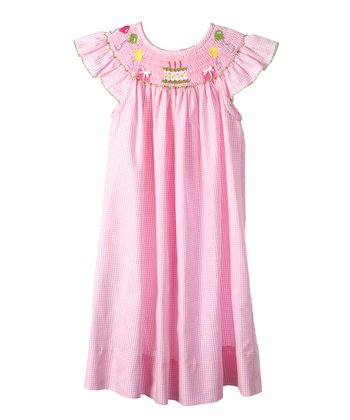 Candyland - Pink Birthday Angel-Sleeve Bishop Dress 24mo