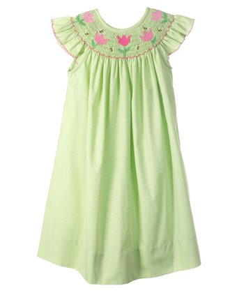 Green Flowers Angel-Sleeve Bishop Dress - Infant & Toddler