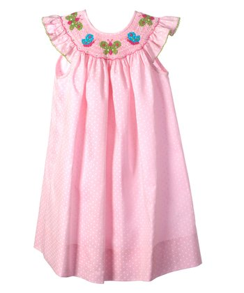 Candyland - Pink Butterfly Angel-Sleeve Bishop Dress 3T