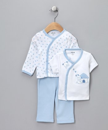 Blue Puppy Three-Piece Set