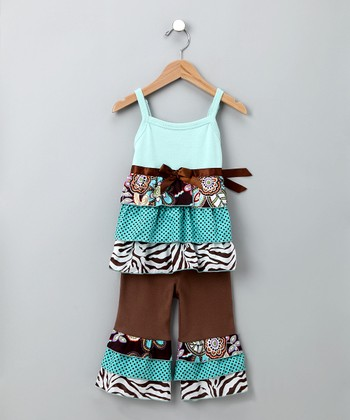 Blue & Brown Safari Rumba Top & Ruffle Pants - Toddler & Girls