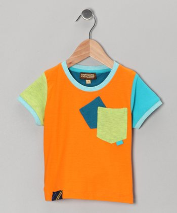 Orange & Aqua Pocket Tee - Toddler & Boys