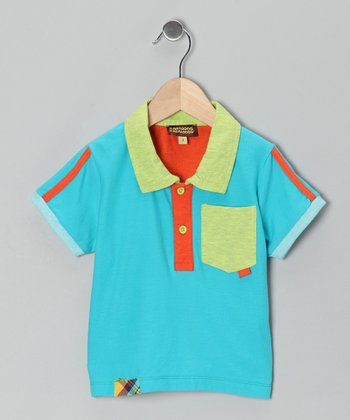 Dark Aqua Stripe Pocket Polo - Infant, Toddler & Boys
