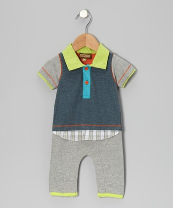 Gray & Blue Layered Romper - Infant
