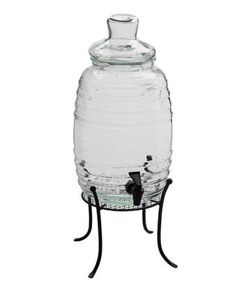Clear Barrel 305-Oz. Beverage Dispenser & Stand