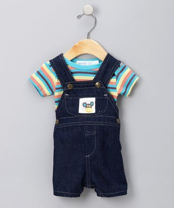 Blue Stripe Organic Tee & Shortalls - Infant