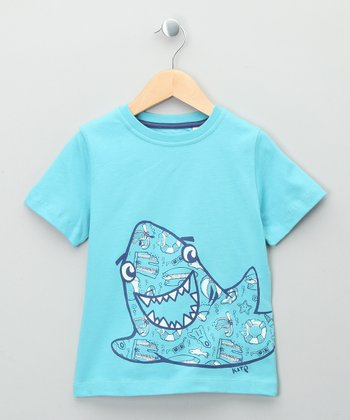 Surf Blue Shark Organic Tee - Toddler & Kids