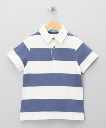 Navy & Ecru Nautical Stripe Organic Polo - Toddler & Kids