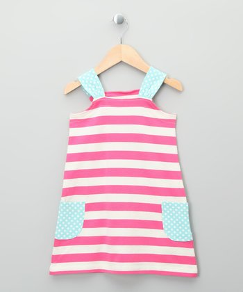 Ecru & Bright Pink Stripe Organic Dress - Girls