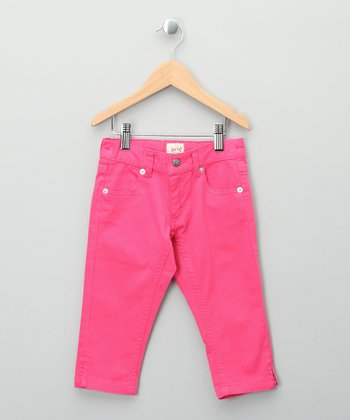 Bright Pink Organic Capri Pants - Girls