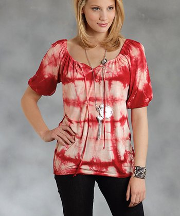 Red Tie-Dye Peasant Top - Women