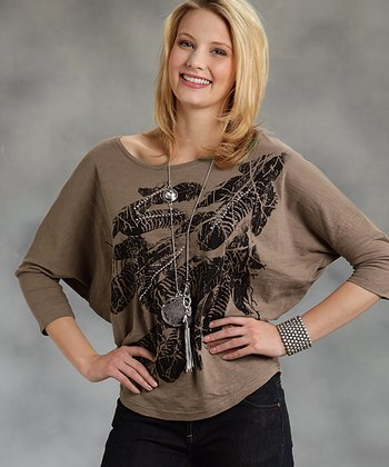 Brown Feather Dolman Top - Women & Plus