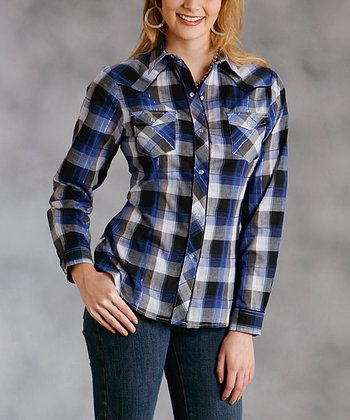 Blue Metallic Plaid Plus-Size Button-Up
