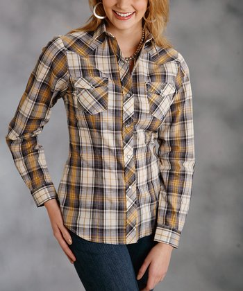 Brown Metallic Plaid Plus-Size Button-Up