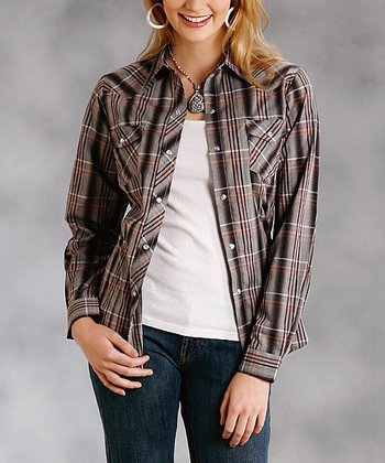 Gray & Brown Plaid Plus-Size Button-Up
