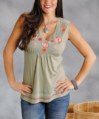 Gray Embroidered Plus-Size V-Neck Top