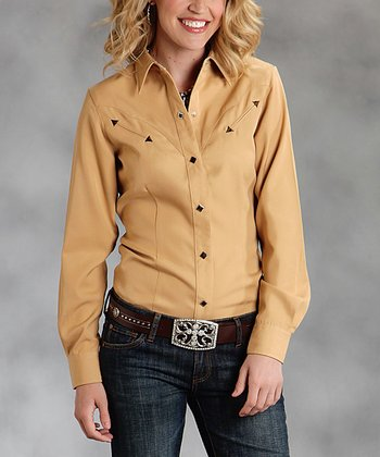 Yellow Plus-Size Button-Up