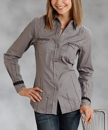 Gray Stitch Plus-Size Button-Up