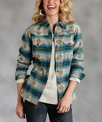 Blue Plaid Plus-Size Button-Up