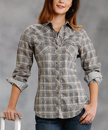 Brown Plaid Plus-Size Button-Up